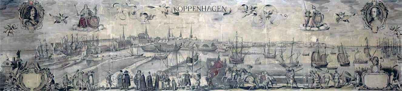 Allards prospekt over K�benhavn fra midten af 1600 viser K�benhavn i 1620�erne set fra Christianshavn