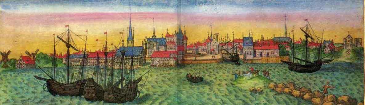 Braunius prospekt over K�benhavn 1587 set fra Amager